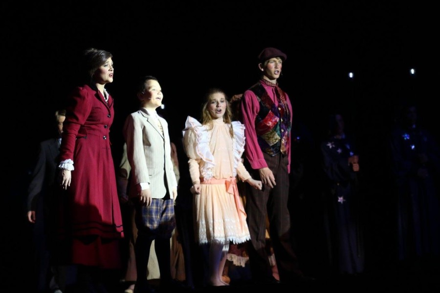 Featured from left to right are the stars of the show: Mary Poppins (Lydia Tremaine), Michael Banks (Nolan Ogle), Jane Banks (McKinley Bolen, and Bert (Daniel Kane). Photo courtesy of Diane Lewis.