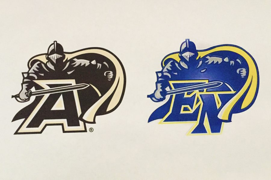 West Point Military Academy's logo (left) compared to East Noble High School's logo (right)
