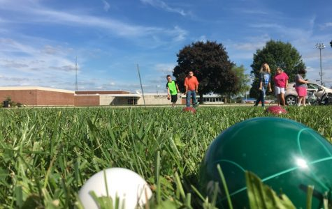 A bocce ball game in session.