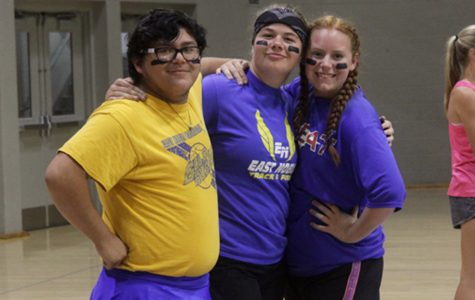 Students Rodrigo Aguirre, Shelby Taggart and Ally Turner having fun at the dodge ball tournament.