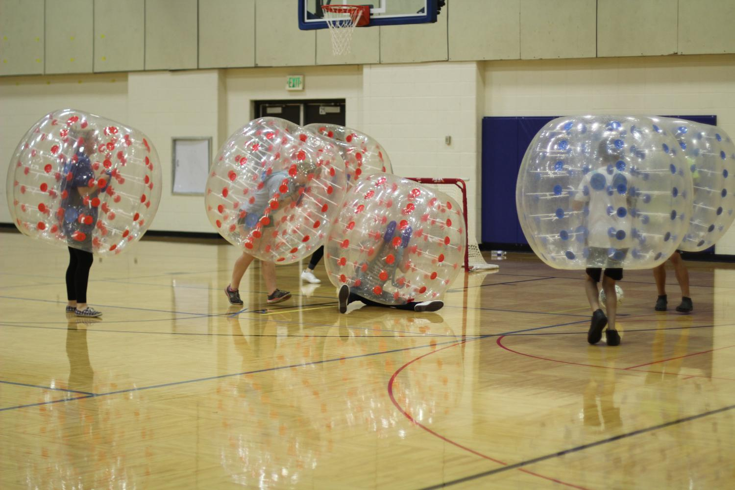 Student Council members in the middle of a game of 'Wubble Bubble' Soccer.