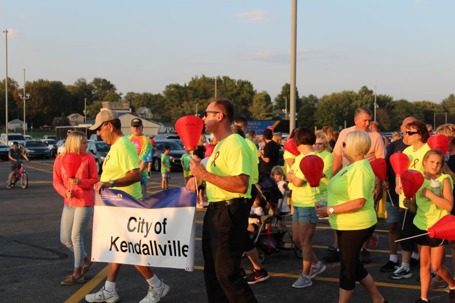 Pictured is the City of Kendallville team preparing to walk aside Mayor Handshoe in the Light the Night walk.